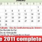 Calendário 2011 feriados