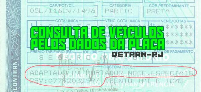 Placa do veículo consulta Detran rj